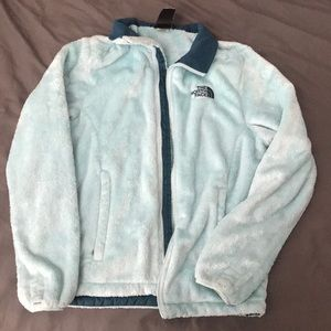 North Face ice blue fuzzy jacket
